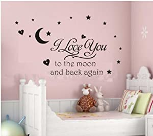 Newsee Decals I love you to moon Wall quote decal sticker kids nursery Room Art Decor (Black)