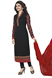 FashionKhoj Elegant black and red Party wear embroidered georgette suit