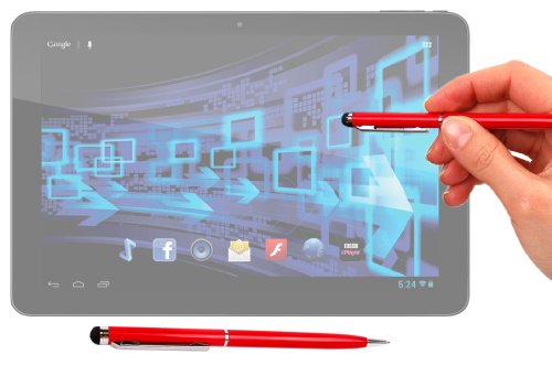Duragadget Executive Gloss Red 2 In 1 Ball Point Pen With Stylus End For Panasonic Toughpad Fz-X1 & Toughpad Fz-E1