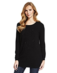 M&S Collection Pure Cashmere Wild Cat Jumper MADE WITH SWAROVSKI® ELEMENTS