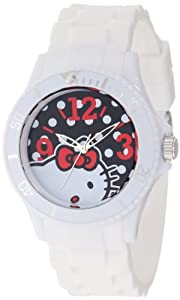 Hello Kitty Women's H3WL1045WT White Plastic Case and Bracelet Bold Polka Dot Dial Watch