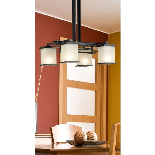 Kenroy Home 90383ORB Plateau 4 Light Chandelier, Oil Rubbed Bronze Finish