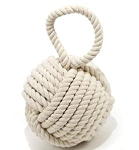 Quality heavy nautical rope knot doorstop cream amazon for Heavy rope for nautical use