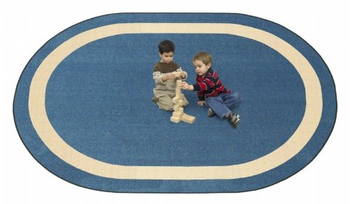 Joy Carpets 1479DD-08 Portrait Seaside 7 ft.8 in. x 10 ft.9 in. Oval 100 Pct. STAINMASTER Nylon Machine Tufted- Cut Pile Educational Rug