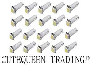 Cutequeen 20PCS LED Car Lights Bulb White T5 5050 1-SMD 1smd 17 18 27 37 58 70 73 74 79 85 86 2721 (pack of 20)