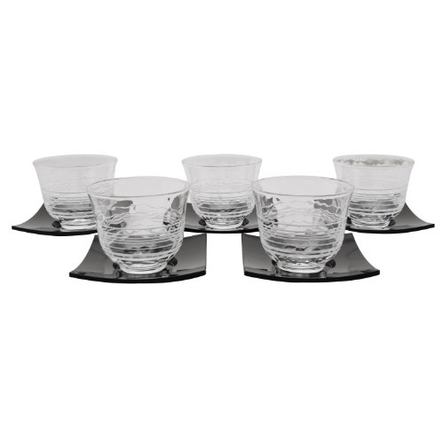 Wave Design Crystal Clear Cold Tea Cup - Set of 5