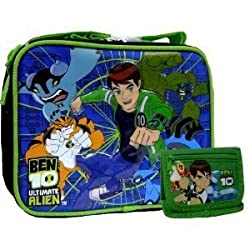 Boys Ben 10 Lunch Box and Green Wallet