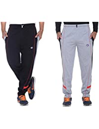 Vimal Black And Grey Men's Cotton Trackpants ( Pack Of 2)