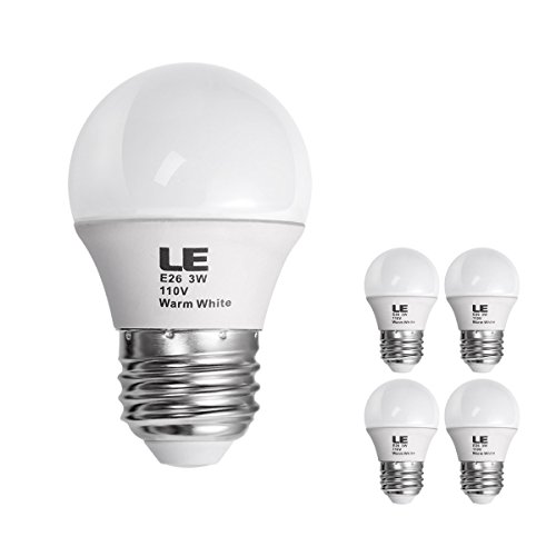 Le 3W G14 E26 Led Bulb, Equal To 25W Incandescent Bulb, Warm White, Pack Of 4 Units