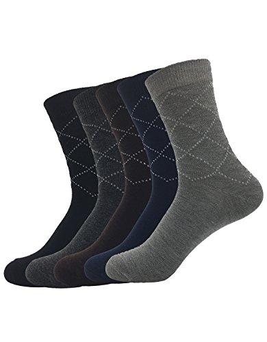 Zando da uomo in misto cotone a costine girocollo casual sportivo Argyle Calze 5 Pairs Taglia Unica: 20 cm- 27 cm(Misura scarpa: 40-44)