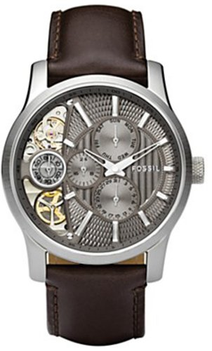 Fossil Men's ME1098 Brown Leather Strap Textured Taupe Cutaway Analog Dial Chronograph Watch