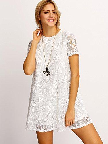 ROMWE Women's Short Sleeve Summer Lace Dress White L