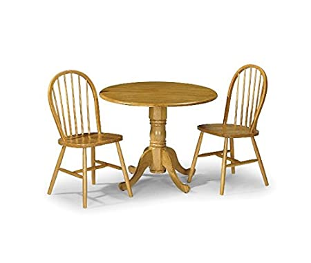 Wooden Space Saving Dining Table Set - Includes 1 Drop Leaf Table And 2 Dining Chairs - Beautiful Pine Finish