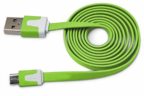 "Mylife Irish Green {Solid Flat Noodle Design} 6' Feet (1.8 Meter) Quick Charge Usb 2.0 Micro Usb To Usb Data Sync Cord For Phones, Cameras, Tablets And Gps Devices ""See Compatibility"" (Durable Rubber Coat) front-66237"