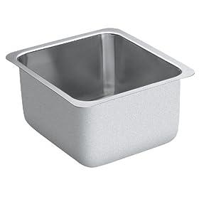 Moen 22352 Lancelot 14-Inch-By-16-Inch-By-10-Inch Single Bowl Kitchen Sink, Satin