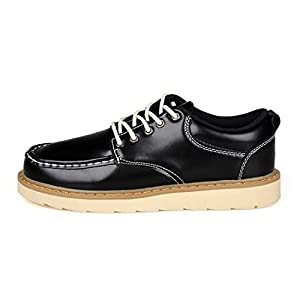 XIAFEN Men's Classic Style Low Top Flat Lace-Up Round-Toe Casual Oxford Shoes Black&Blue&Brown