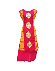 Pink And Orange Georgette Party Wear Kurti