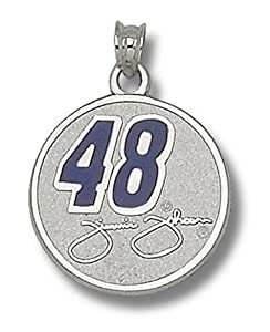 LogoArt Jimmie Johnson Sterling Silver Enamel 3 4 Round Pendant - Jimmie Johnson Each by Logo Art