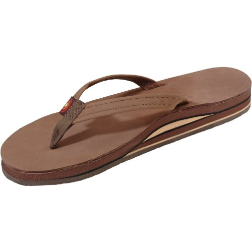 Rainbow Narrow Strap Double Layer Leather Sandal - Women'S Premier Dark Brown Small front-901041