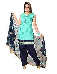 Ritu Creation Women's New Silk Stitched Straight Patyala Suit With Dupatta Work(Blue)