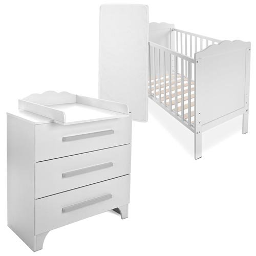 babybett kinderbett komplettbett mit wickelkommode inkl. Black Bedroom Furniture Sets. Home Design Ideas