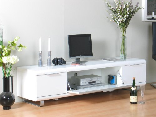 milano tv bank 180x45x45 cm weiss hochglanz tv m bel. Black Bedroom Furniture Sets. Home Design Ideas