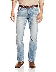 Cinch Men's Ian Mid Rise Slim Fit Boot Cut Jean, Light Indigo Blue, 36x36