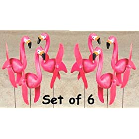set of 6 whirlygig whirly gig Pink Flamingos spinning Twirling lawn ornament art YARD art STAKES whirling whirly bird spinner wings