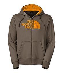 Men\'s The North Face Half Dome Full Zip Hoodie Weimaraner Brown/Citrus Yellow Size Medium