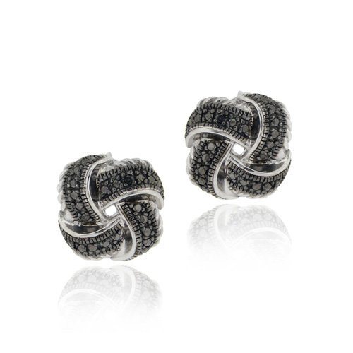 Sterling Silver Black Diamond Accent Love Knot Earrings