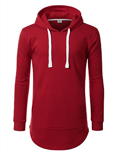 URBANCREWS Mens Hipster Hip Hop Classic Pullover Hooded Jacket RED XLARGE