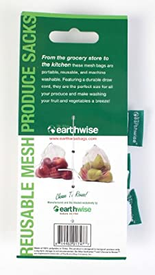 Set of 3 Earthwise Eco-Friendly Reusable Mesh Produce Sacks
