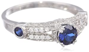 Amazon Curated Collection Sterling Silver Created Blue and White Sapphire Ring, Size 7 at Sears.com
