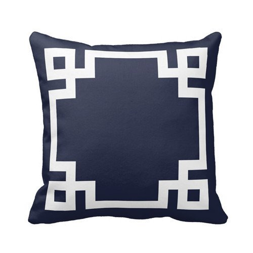 Navy Blue and White Greek Key Border Pillows Personalized 18x18 Inch Square Cotton Throw Pillow Case Decor Cushion Covers