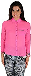 Holidae Women's Poly Georgette Print Detailed Shirt (HI-TP-SH-082_S, Pink, S)