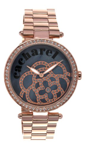 Cacharel - 2AM CLD 001S/Women's Watch Analogue Quartz Black Dial Steel Strap-Plated Pink