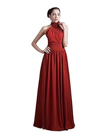 Vampal burgundy chiffon halter neck long bridesmaid dress for Amazon cheap wedding dresses