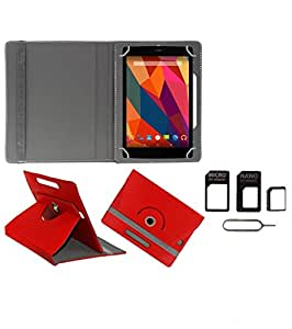 Gadget Decor (TM) PU Leather Rotating 360° Flip Case Cover With Stand For Iball Slide 3G-7307 + Free Sim Adapter Kit - Red