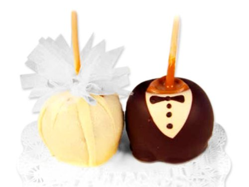 Bride and Groom Decorated Gourmet Caramel Apple Gift, Set of Bride and Groom