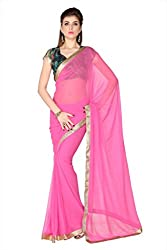 Anvi Soft Pink Faux Georgette designer saree with unstitched blouse (1740)