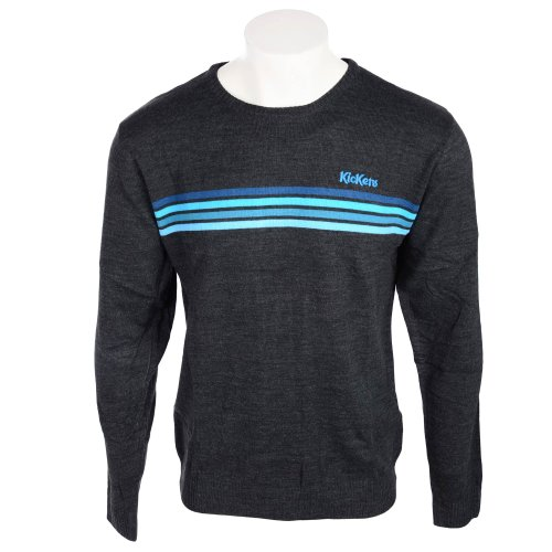 Kickers Men's Grey Marl With Blue Chest Stripes Jumper in Size Medium