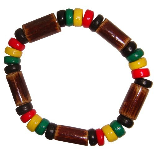 Hawaiian Coconut Puka and Wood Rasta Reggae Elastic Bracelet