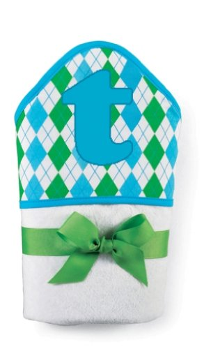 Mud Pie Initial Baby Boy Blue Initial Hooded Terry Towel, Letter T front-571434