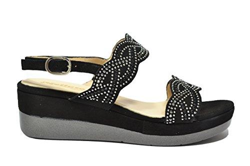 Melluso Sandali zeppa nero scarpe donna R7735 37
