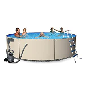 Rugged steel 24 ft round 52 in deep metal for 24 ft garden pool