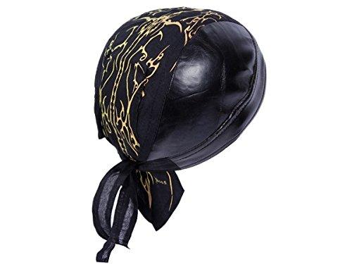 Bandana in finta pelle preformato con laccetti, rocker biker motociclista motorcycle pirata cap cappellino ZA-59b