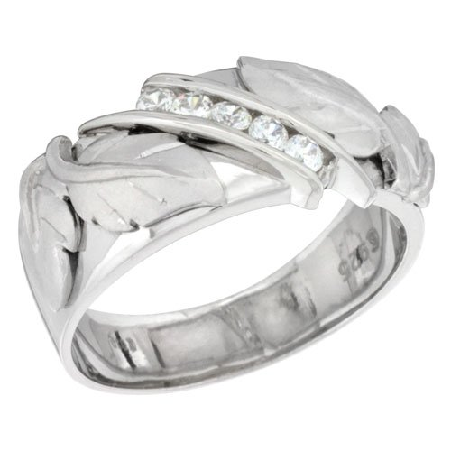 Sterling Silver Diamond Simulant 9mm Mens Wedding Band