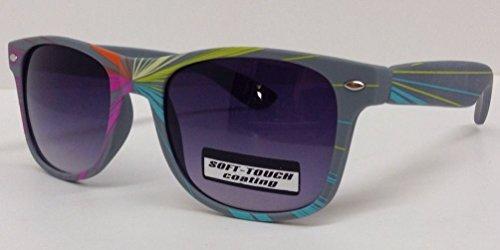 Grey Soft Touch Laser Wayfarer Sunglasses Rubber Rainbow