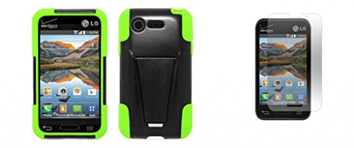 Lg Optimus Fuel / L34C (Straight Talk, Tracfone, Net 10) - Black/Neon Green Dual Layer Impact Defender Shockproof Armor Kickstand Cover Case + Atom Led Keychain Light + Screen Protector