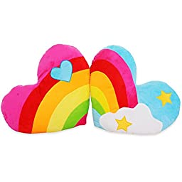 Coxeer® Love Rainbow Clouds Heart-shaped Lovers Plush Cushions Pillow (One Pair)
